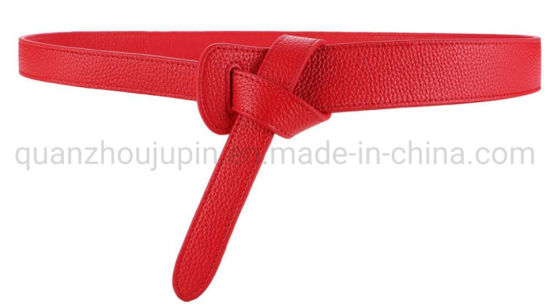 OEM Cow Leather Double-Sided Knotted Woman′s Wide Waist Belt pictures & photos