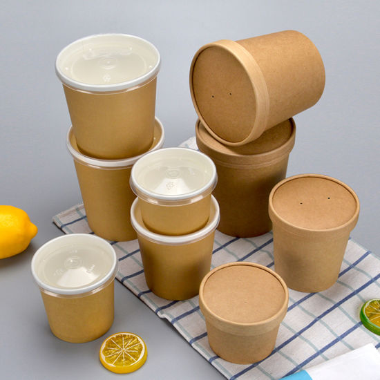 Disposable Paper Bowl Kraft Paper Bowl Round Takeaway Soup Bowl Porridge Bucket Dessert Packaging Takeaway Box/Bowl with Lid pictures & photos