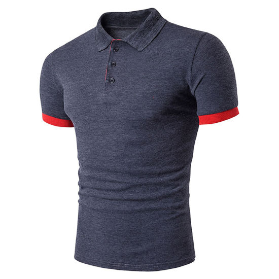 Customized Mens Short Sleeve Contrast Color Lapel Polo Tee Shirts