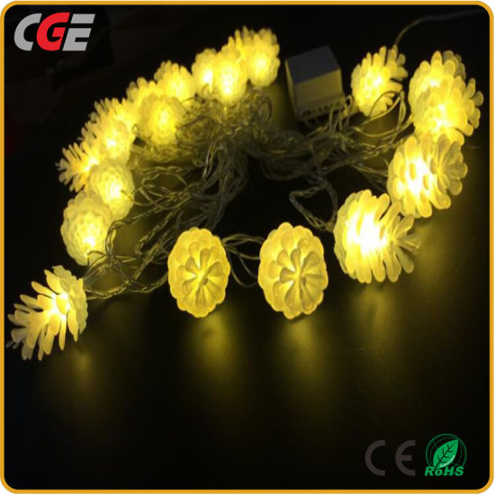 20 led pine cone solar string lights for wedding decoration light led christmas light