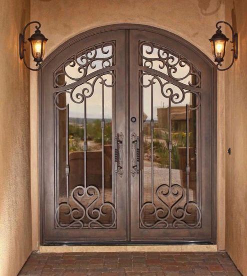 High-Quality Custom Hot DIP Galvanized Wrought Iron Gate Classical Design Ornamental Metal Work Wrought Iron Door Metal Door