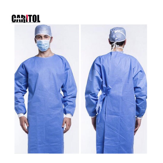 Non Sterile Hospital Impervious Isolation Gown with En13795 Polypropylene PP PE Surgical Disposable Gown Manufacturer Line