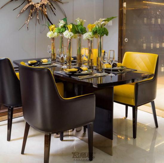 4 Seat Black Dining Room Furniture Set for Restaurant