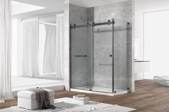Stainless Steel Double Sliding 10mm Thick safety Tempered Glass Shower Door
