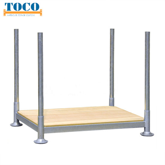 Workshop Powder Coated Automotive Industry Collapsible Pallet Stacking Rack with Wire Mesh Deck