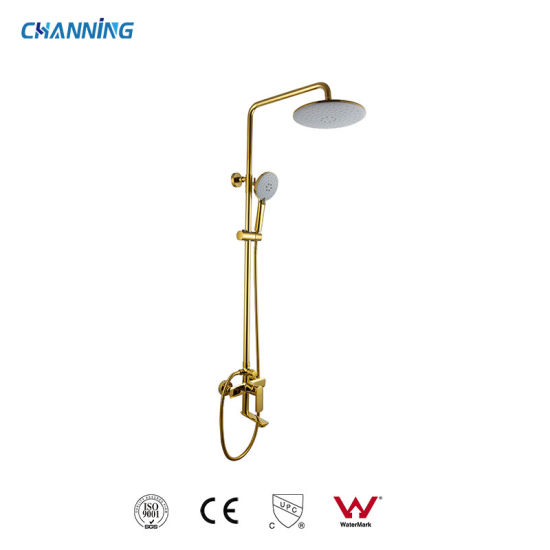 Wall Mounted Rain Shower Combination Brass Hot and Cold Bathroom Gold Color Shower with Tub Spout (QT-72 3601G)