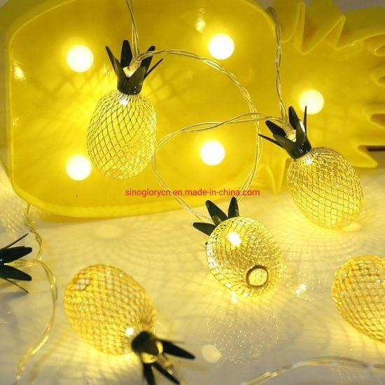 Explosive Metal Pineapple Light LED String Light 10LED Battery Light Iron Pineapple Decorative Light