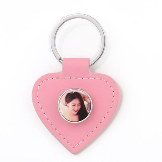 Blank Sublimation Snap Button Leather Keychain