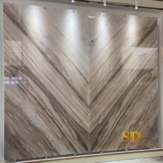 Italian Palissandro White Marble Slabs for Big TV Wall Decoration in Living Room of Villa/Home