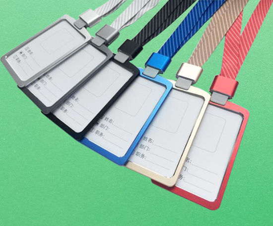 Aluminium Alloy Office Worker ID Card Badge Holder with Detachable Lanyard/Strap