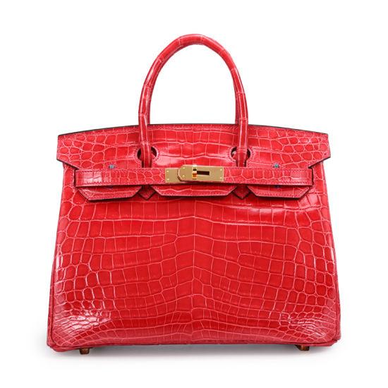 Custom Lady Designer Kelly Bag Genuine Crocodile Belly Leather Handbag