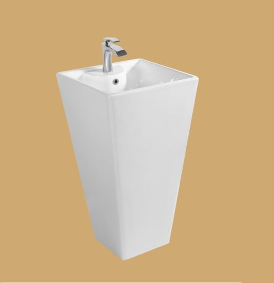 M9002 White Square One Piece Pedestal Basin by Floor Standing