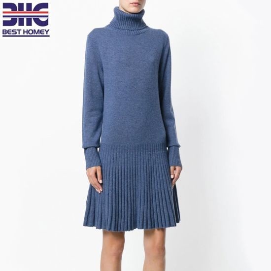 5e5877bd18ae51 Cotton Cashmere Turtle Collar High Neck Computer Knitted Long Sleeve Dress  with Ribbed Skirt for Girl