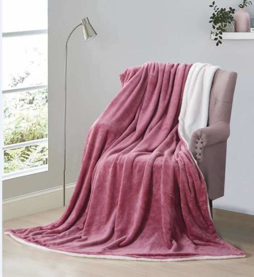 100% Polyester 2 Layers Striped Flannel Soft Sherpa Blanket