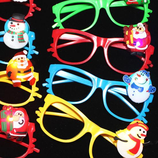 Children Reindeer Christmas Tree Glitter Applique Party Favor LED Glasses Frame