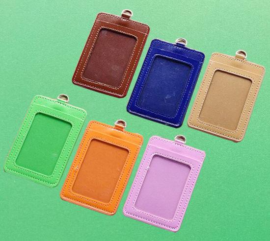 Vertical PU Leather ID Card Badge Holder