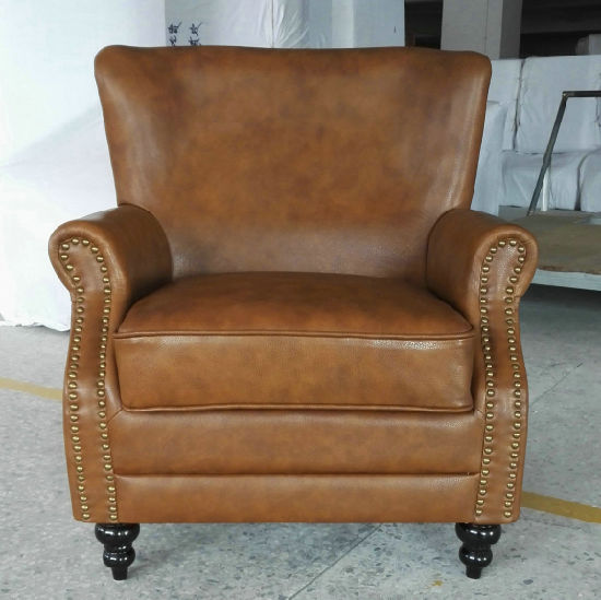 Tobacco Color Leather Chair, Cigar Club Chair, Hotel Chair (A888)