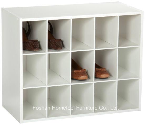 White Wooden Stackable 15 Cube Organizer Storage Cabinet