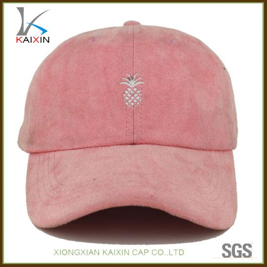 e83e22c6e5a China Custom Women Pink Suede Baseball Cap Unstructured Dad Hats ...