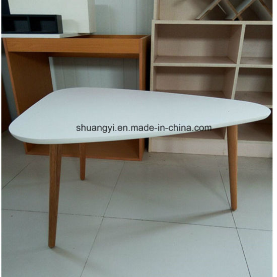 China White Melamine Top Solid Leg Coffee Table With Round Edge
