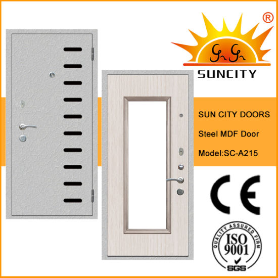 Hot Sale Steel Wood Armored Door with MDF Board (SC-A215) pictures & photos