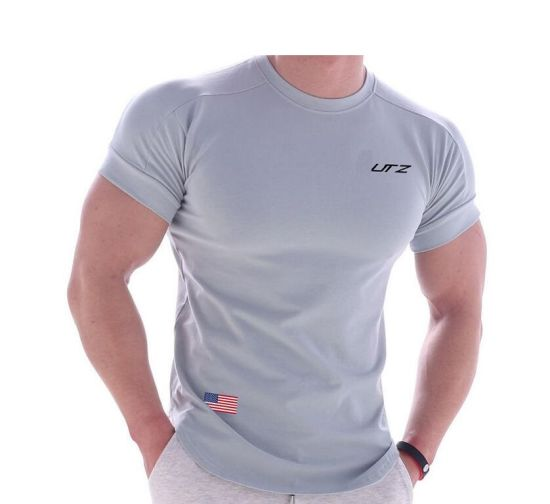 Grey Round Neck 100% Cotton Sports Shirts Mens Customized T Shirts with Screen Print Logo