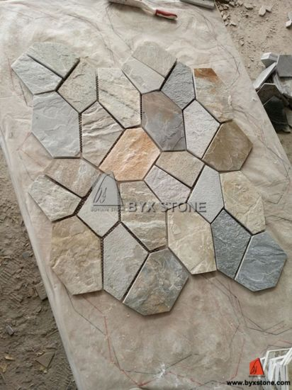 Yellow Wood Vein Flagstone Mats Slate for Flooring Tile pictures & photos