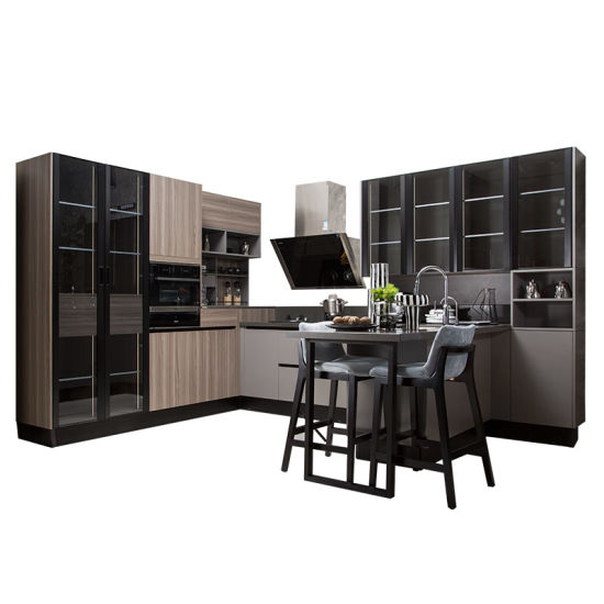 Oppein Modern Design Industrial Wood L-Shape Kitchen