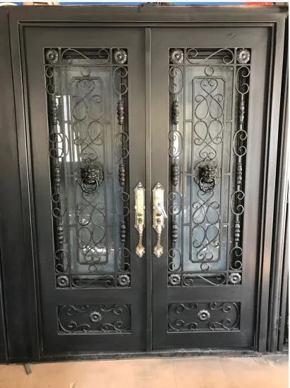 Custom Elegant Residential Wrought Iron Door Double Door High-Quality Wrought Iron Door Metal Steel Door for House|Wrought Iron Entry Doors
