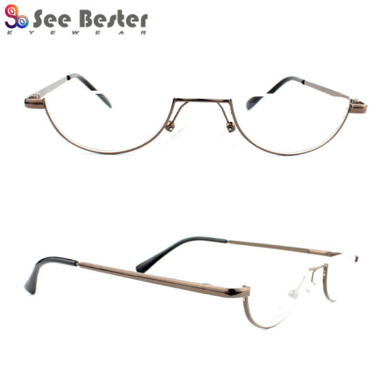 390a69cf20 China Half Moon Frames Rims Metal Stainless Steel Reading Glasses ...