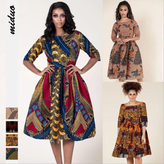 Digital Printed Sexy Women MIDI Dress African Elegant Dress