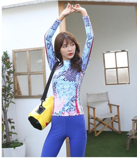 Printed Lycra Material Surfing Suit Long Sleeve Swimming Suits for Women