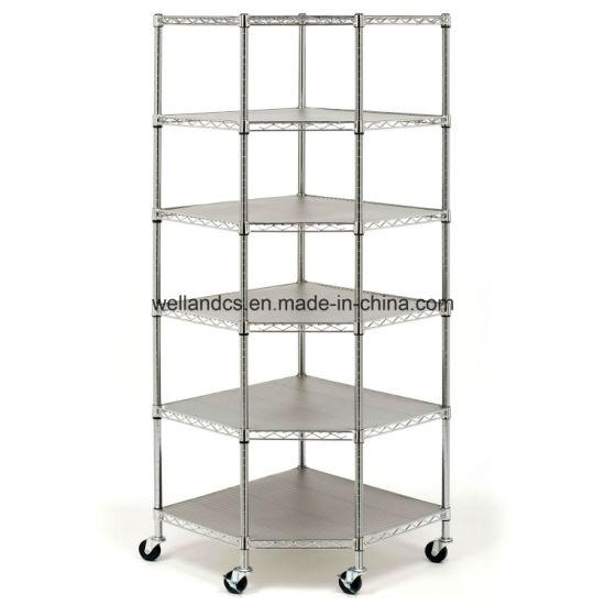 Corner Wire Shelf | China Heavy Duty Wire Steel 6 Tier Corner Shelf Garage Storage
