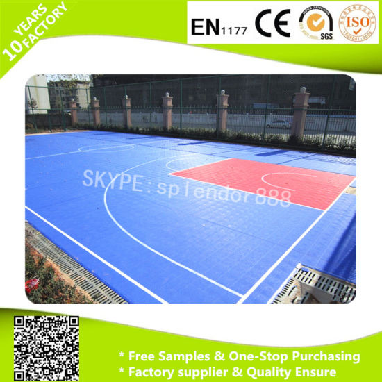 Outdoor Basketball Court Flooring Interlocking Tiles PP Interlock with Drainage System pictures & photos
