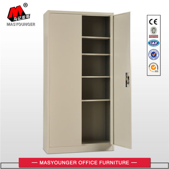 Beige Color Steel Office 2 Swing Door File Storage Metal Filing Cabinet Cupboard
