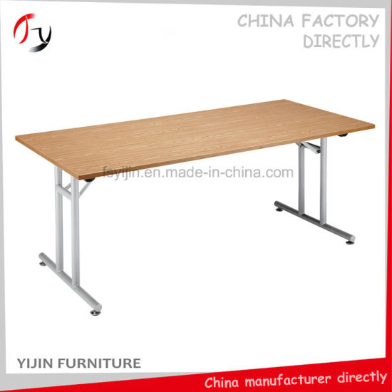 China Melamine Top Metal Legs Foldable Conference Table CT - Fold away conference table