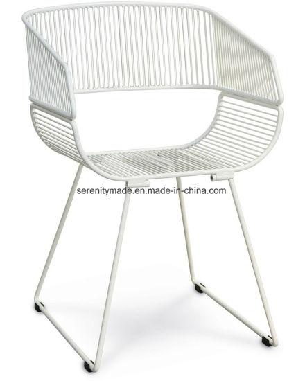 Admirable Dining Room Aspen Armchair Outdoor White Leisure Armrest Metal Wire Chair Uwap Interior Chair Design Uwaporg