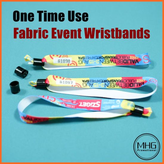 One Time Use Fabric Event Wristbands with Serial Numbers Wristband