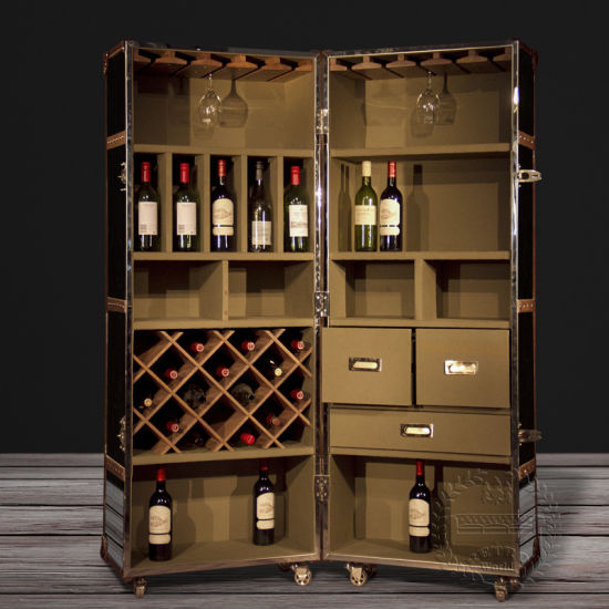 Antique Leather Wine Cabinet Decorative Wine Cabinet Antique Wine Bar  Cabinet - China Antique Leather Wine Cabinet Decorative Wine Cabinet Antique