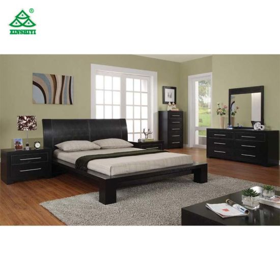 Modern Style Bed Room Furniture Latest Double King Size Oak Upholstered  Solid Wood Bed