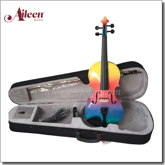 China Aileen Rainbow Colorful Student All Solid Violin Vg105e