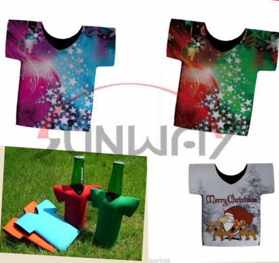Christmas Koozies.China Promotional Neoprene T Shirt Beer Bottle Cooler