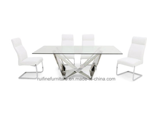 Modern Italian Design Florentina Clear Glass Top Dining Table Chairs  Stainless Steel