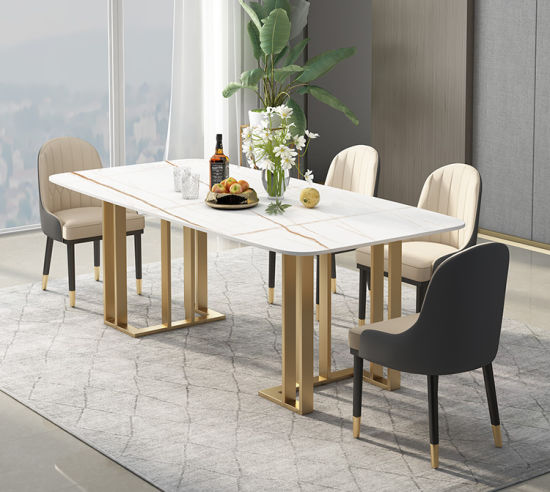 China Sintered Stone Hot Sale Metal Leg Dining Table Sets Table And Chairs China Dining Table Marble Table