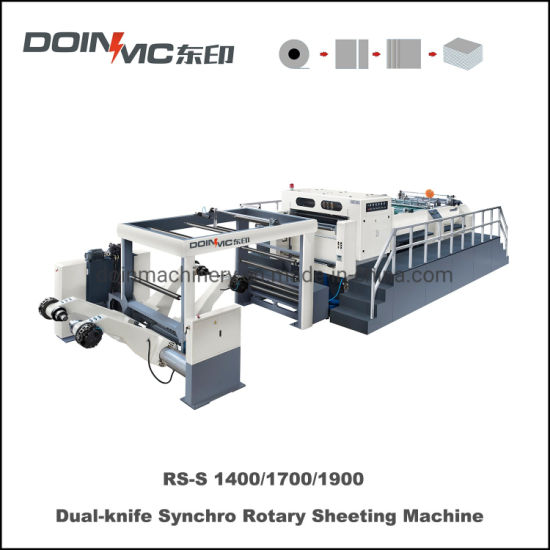 Helix Knife Double Blade Synchro-Fly Paper Roll Sheeting Machine with Twin Knife Rotary Sheeter