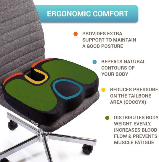Truck Driver Office Air Seat Cushion For Lower Back Pain Relief Sciatica Coccyx
