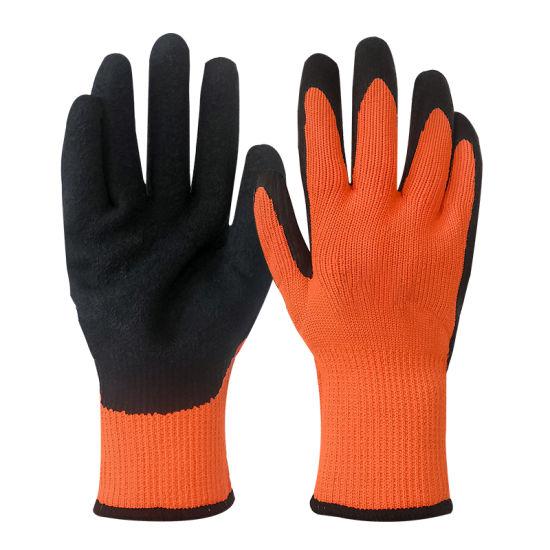 7 Gauge Nylon Liner Wrinkle Latex Coated Anti-Slip Industry Work Safety Gloves for Winter Use