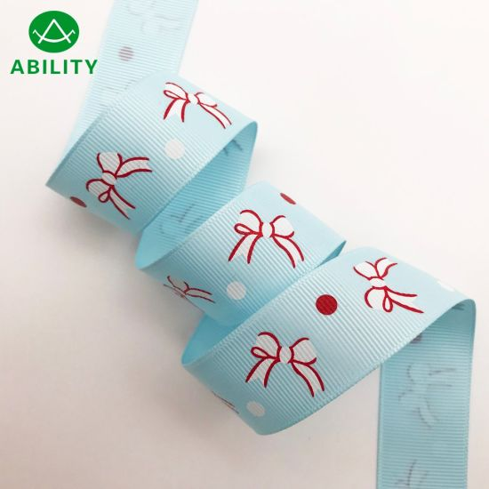 Beautiful Popular Printed Christmas Gift Garments Satin Ribbon Grosgrain Ribbon