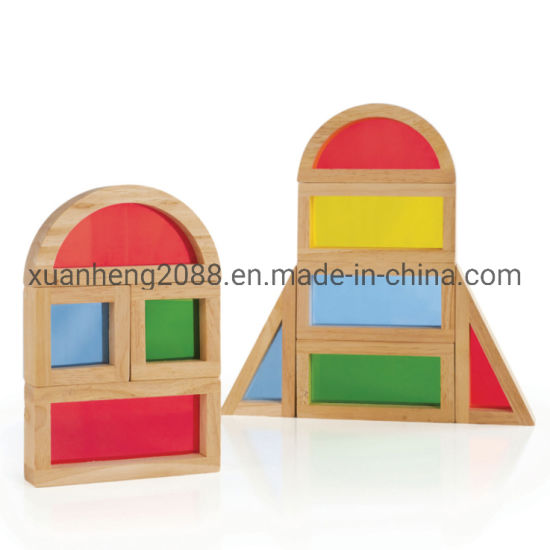 Multi Shapes Wooden Toys Rainbow Stacking Blocks for Kids pictures & photos
