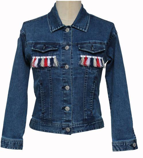 Basic Style Kids Denim Outwear Denim Jacket with Tassel